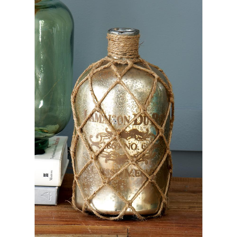 "10 in. Glass ""La Maison du Rot"" Decorative Bottle in Gray"