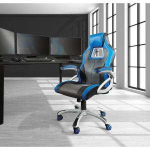 Remarkable Osp Home Furnishings Race Chair In Charcoal Grey With Blue Uwap Interior Chair Design Uwaporg