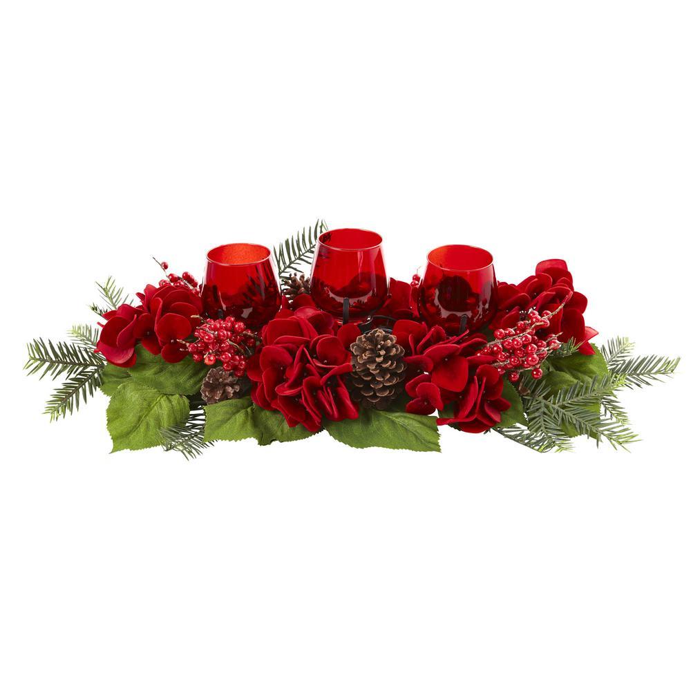 4 in. Triple Hydrangea Red Candelabrum