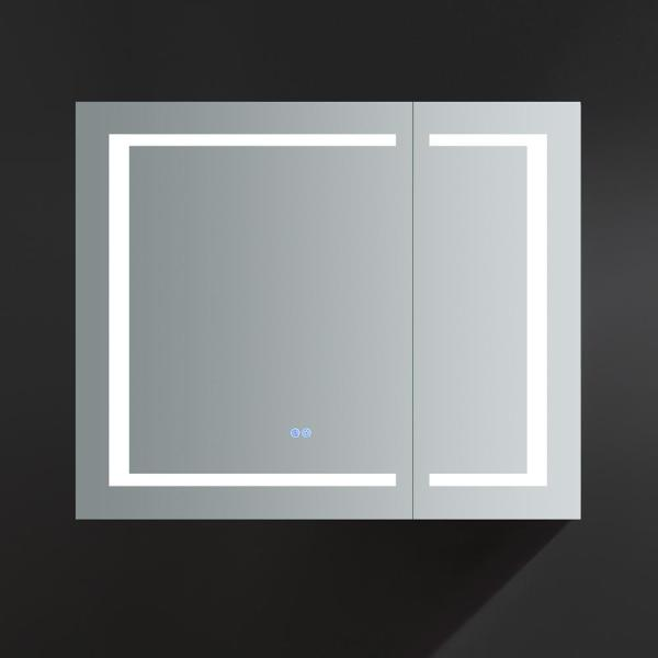 Fresca Spazio 36 In W X 30 In H Recessed Or Surface Mount Medicine Cabinet With Led Lighting And Mirror Defogger Fmc023630 The Home Depot