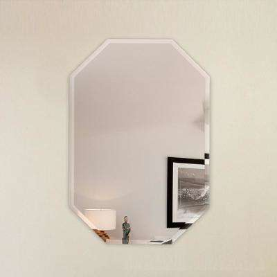 24 in. x 36 in. Octagon Frameless Wall Mirror Bevel Polish with 3-Hooks