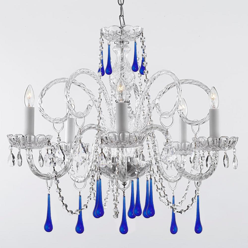 Empress 5 light crystal chandelier with blue crystal trimmed with empress 5 light crystal chandelier with blue crystal trimmed with swarovski crystal aloadofball Gallery