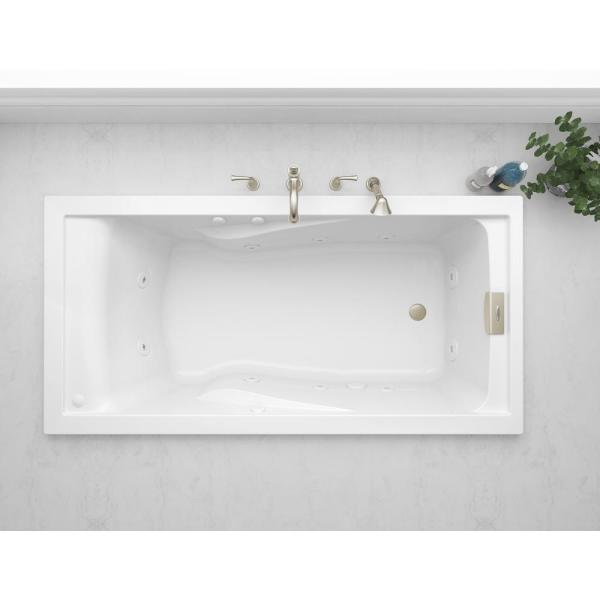 Evolution EverClean 72 in. x 36 in. Whirlpool Tub in White