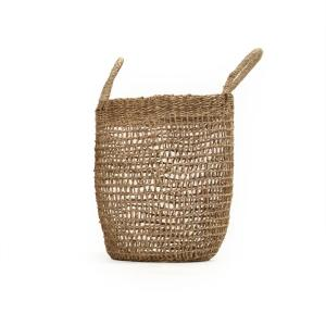 Cylindrical Sparsely Hand Woven Wicker Seagrass Small Basket with Handles