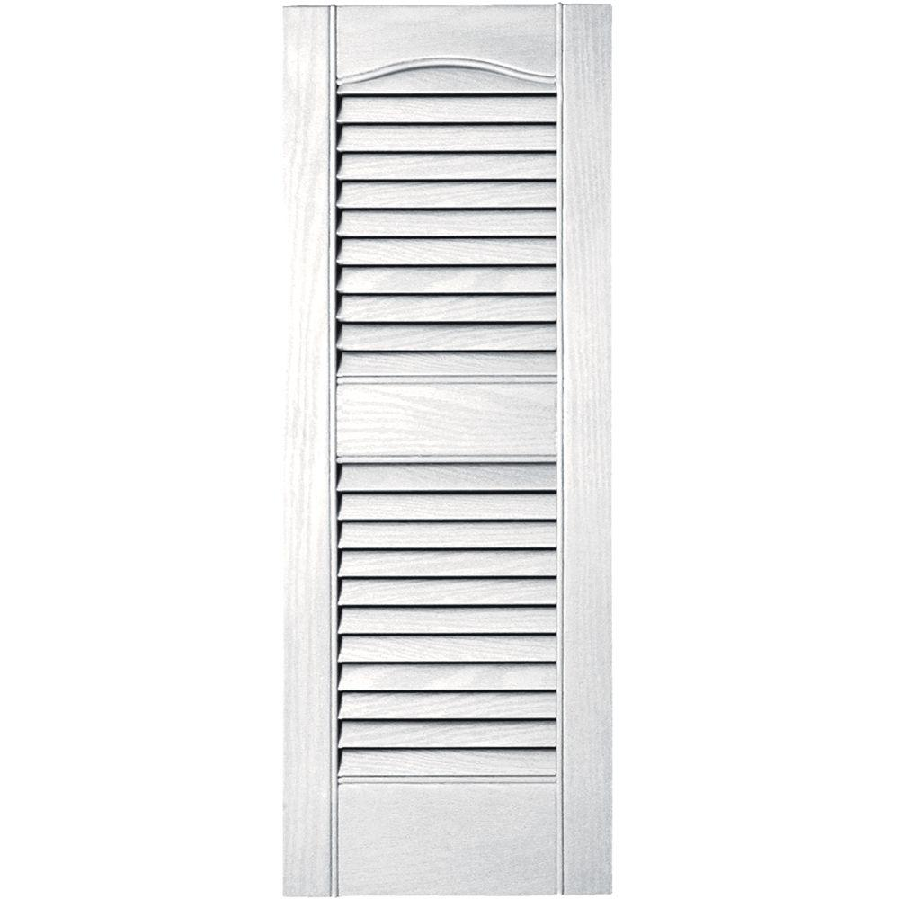 12 in. x 31 in. Louvered Vinyl Exterior Shutters Pair in