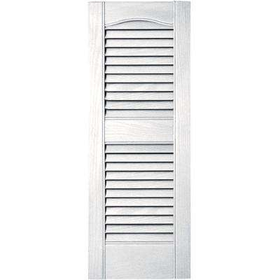 12 in. x 31 in. Louvered Vinyl Exterior Shutters Pair in #117 Bright White