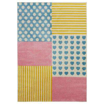 Whimsical Cream/Yellow 4 ft. x 6 ft. Indoor Area Rug