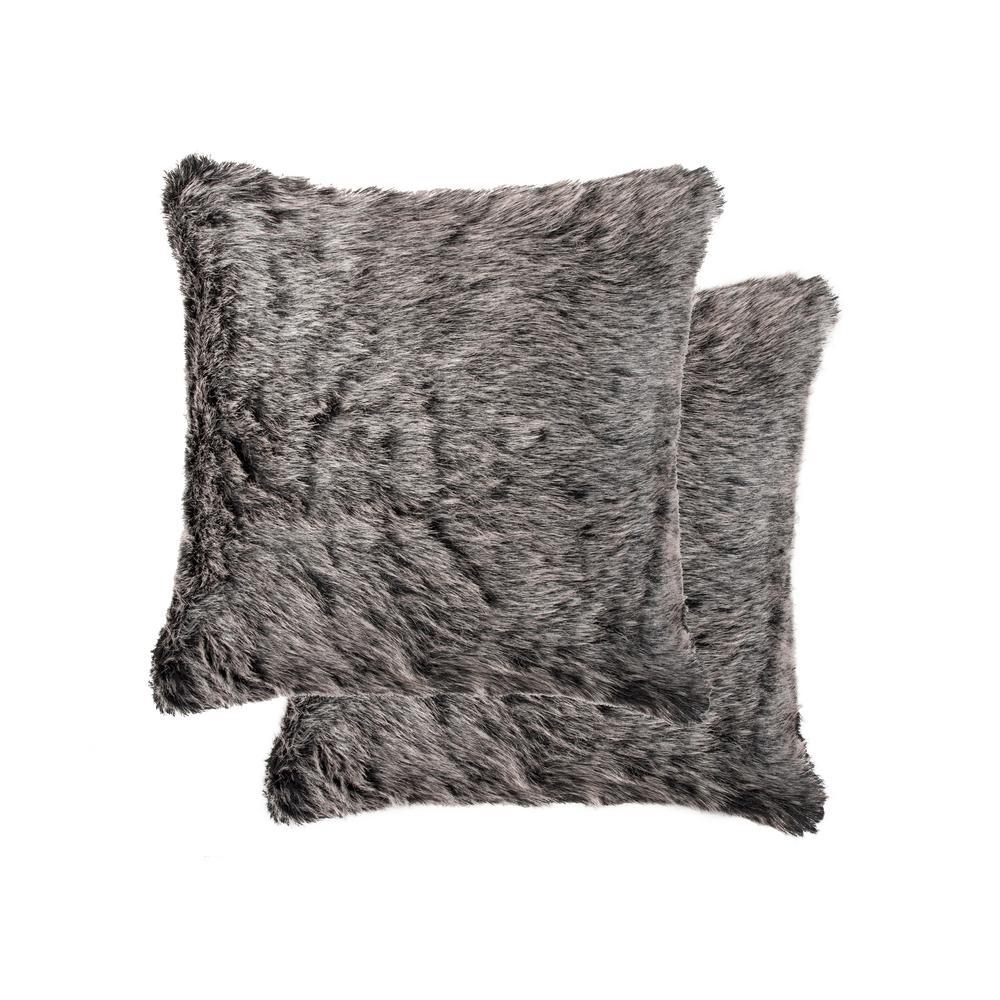 20 in. x 20 in. Belton Wolf Faux Fur Pillow (Set of 2)