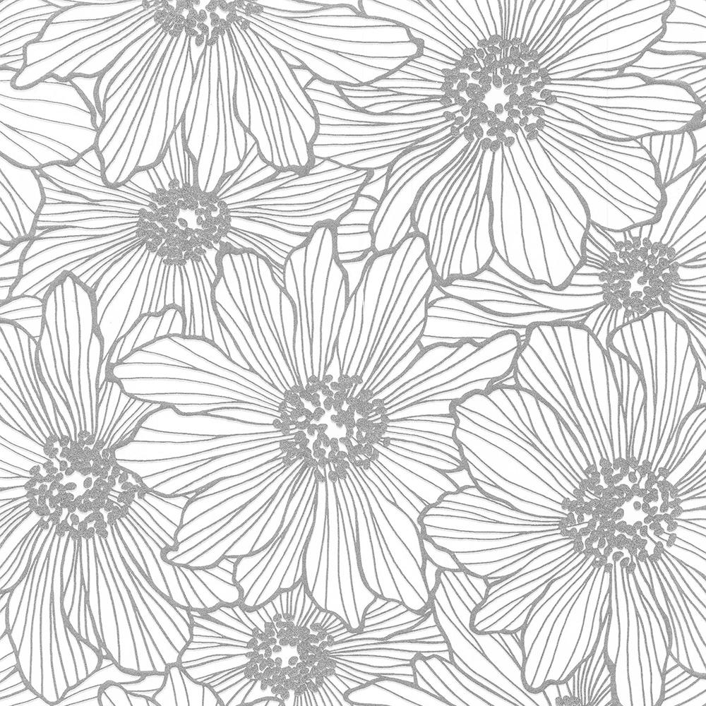 Advantage 8 In X 10 In Vivienne Silver Floral Wallpaper Sample