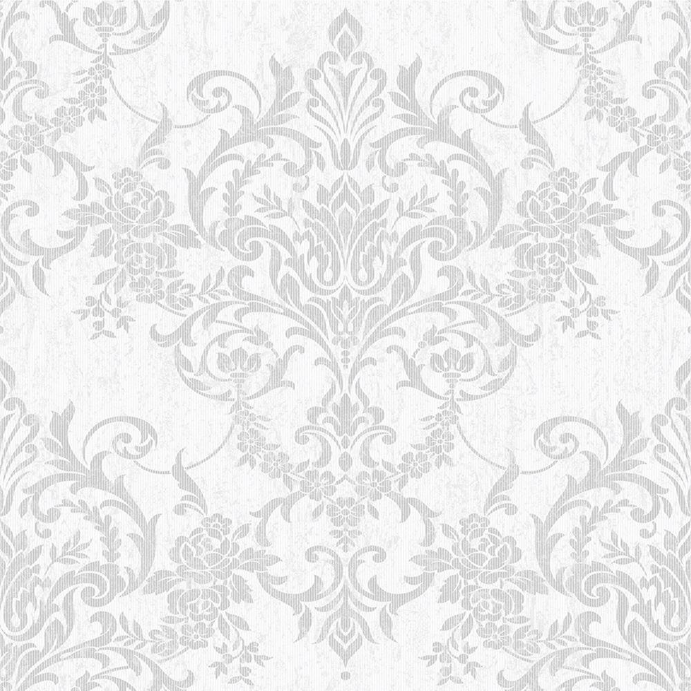 Graham Brown Empress Victorian Damask Silver Removable Wallpaper
