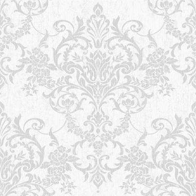 Empress Victorian Damask Silver Removable Wallpaper