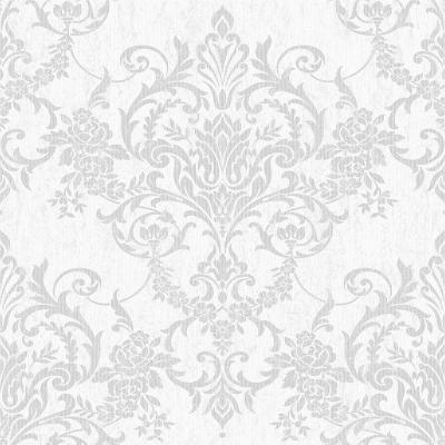 Victorian Damask Silver Wallpaper Sample
