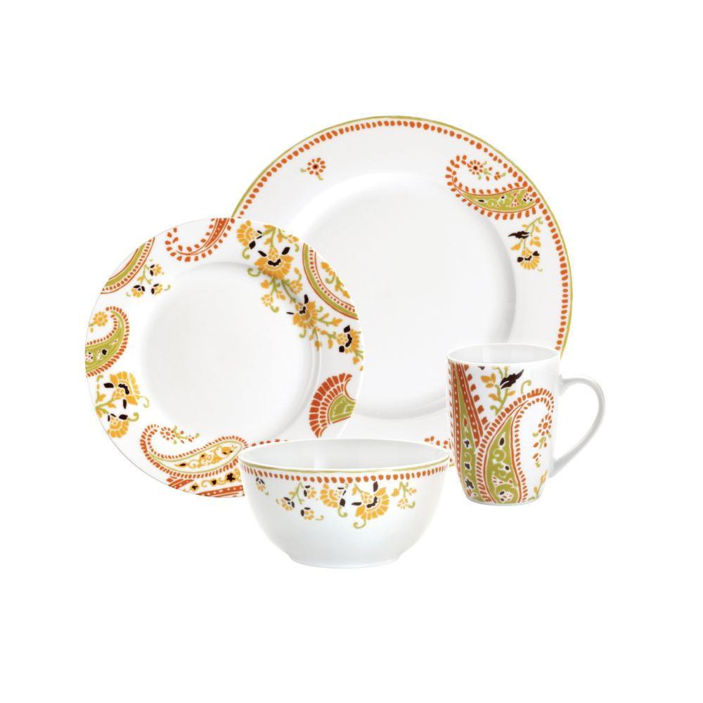 Paisley 16-Piece Dinnerware Set Porcelain Microwave Dishwasher Safe Rachel Ray  sc 1 st  eBay & Paisley 16-Piece Dinnerware Set Porcelain Microwave Dishwasher Safe ...
