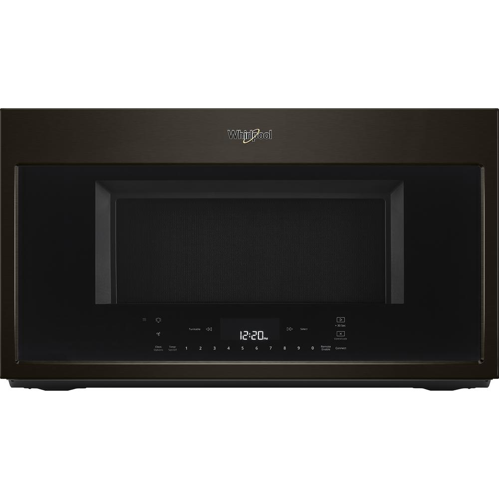 Whirlpool 1.9 cu. ft. Smart Over the Range Convection Microwave in Fingerprint Resistant Black Stainless