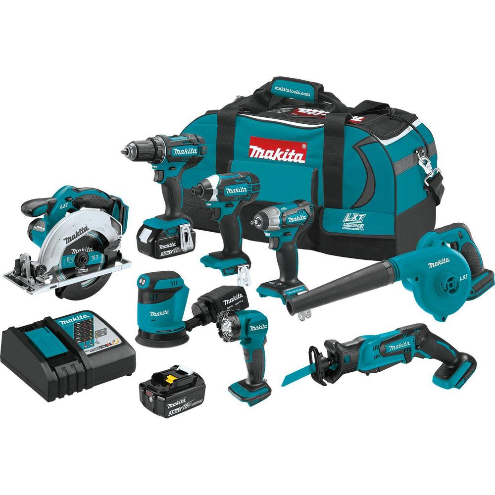 Makita 18-Volt LXT Lithium-Ion 8-Piece Kit Drill/ Impact Drvr/ Circ Saw/ Recip Saw/ Sander/ Impact Wrench/ Blower/ Light 3. 0Ah