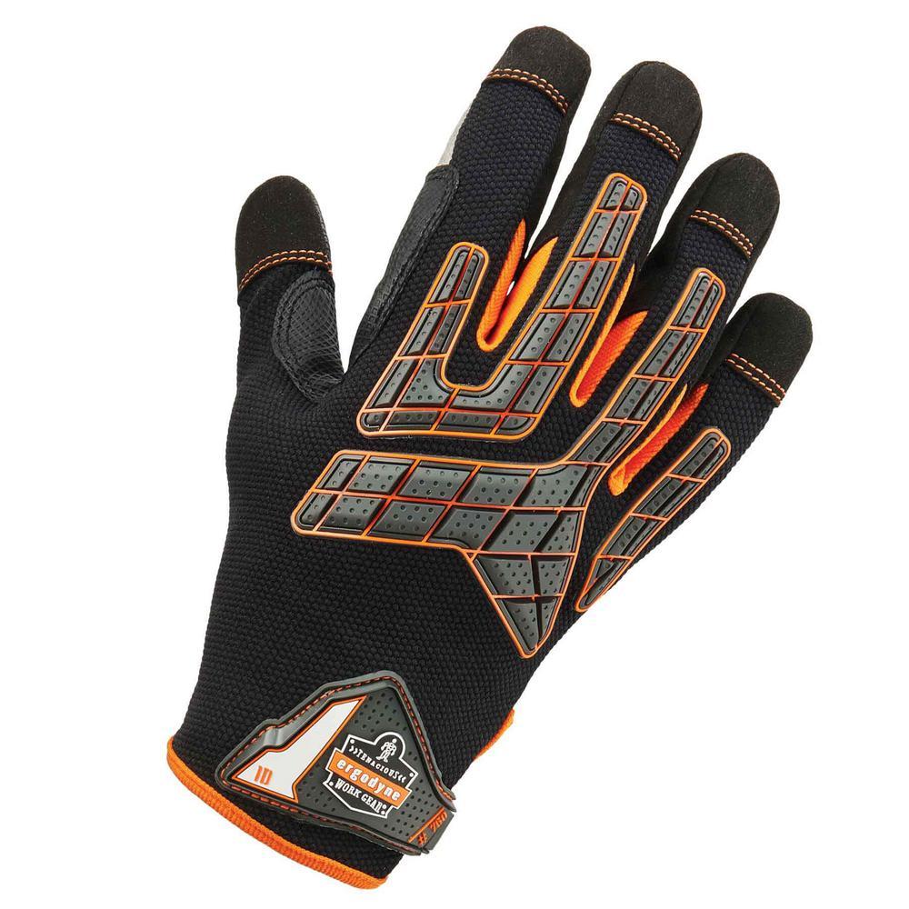 Large Black Impact-Reducing Utility Gloves