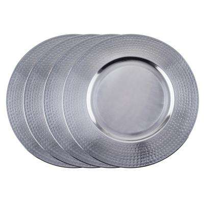 16 in. Brushed Stainless Steel Charger Plate - Hammered Rim (Set of 4)