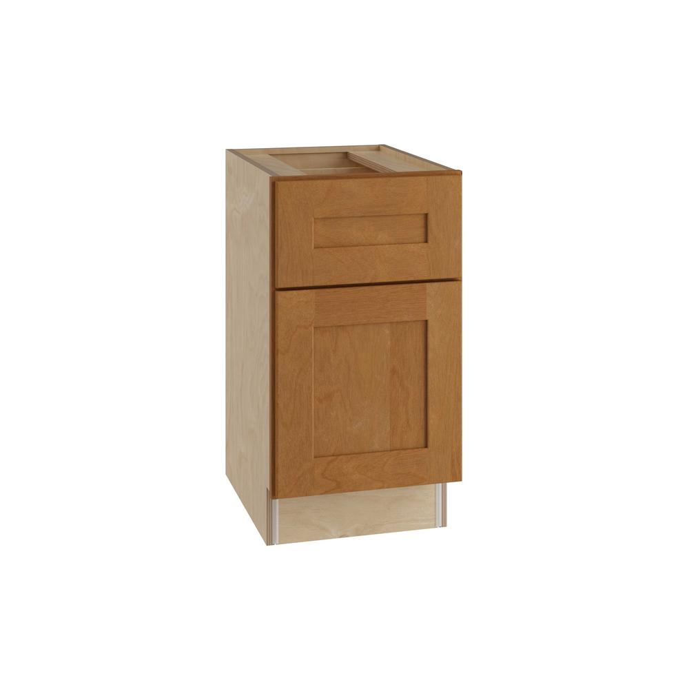 Home Decorators Collection Hargrove Assembled 15x28.5x21 in. Single Door and Drawer Hinge Left Base Desk Cabinet in Cinnamon