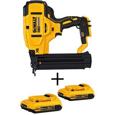 20-Volt MAX XR Lithium-Ion Cordless 18-Gauge Brad Nailer (Tool-Only) with Bonus Lithium-Ion Battery Pack 2.0Ah (2-Pack)