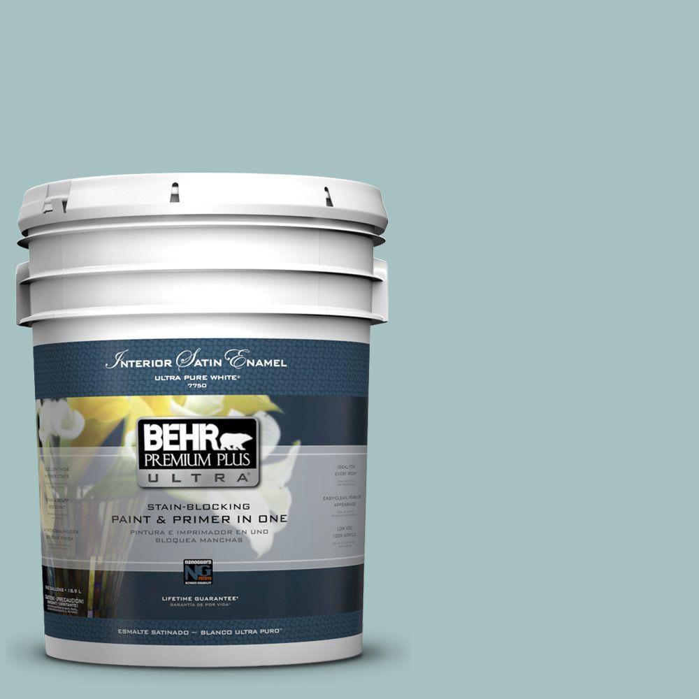 BEHR Premium Plus Ultra 5-gal. #500F-4 Swan Sea Satin Enamel Interior Paint
