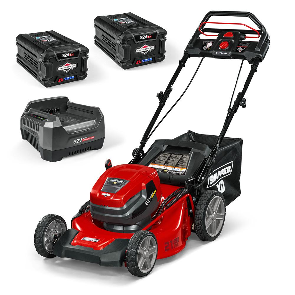 Snapper XD 21 in. 82-Volt Lithium-Ion Cordless Battery StepSense Walk Behind Self Propelled Mower Two 2.0 Batteries and Charger