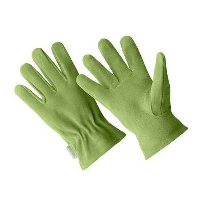 Large Ladies Premium Green Suede Driver Gloves