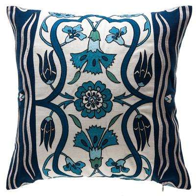 Indigo Bloom Square Outdoor Throw Pillow