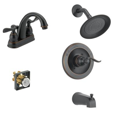 Windemere 4 in. Centerset 2-Handle Bathroom Faucet Bundle with Tub/Shower Trim and Rough-In in Oil Rubbed Bronze