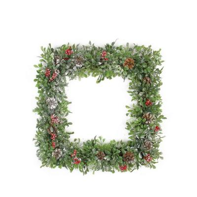 18 in. Unlit Square Boxwood and Berries Pine Cone Artificial Christmas Wreath