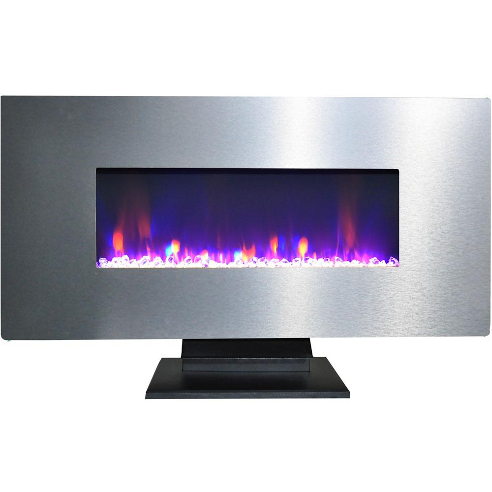 Cambridge 42 in. Metallic Electric Fireplace in Stainless Steel with Multi-Color Crystal Rock Display