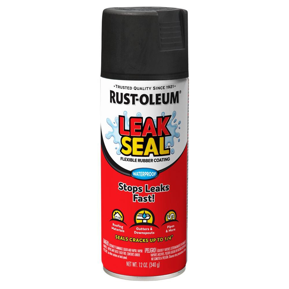 Rust-Oleum Stops Rust 12 oz. LeakSeal Black Flexible Rubber Coating Spray Paint