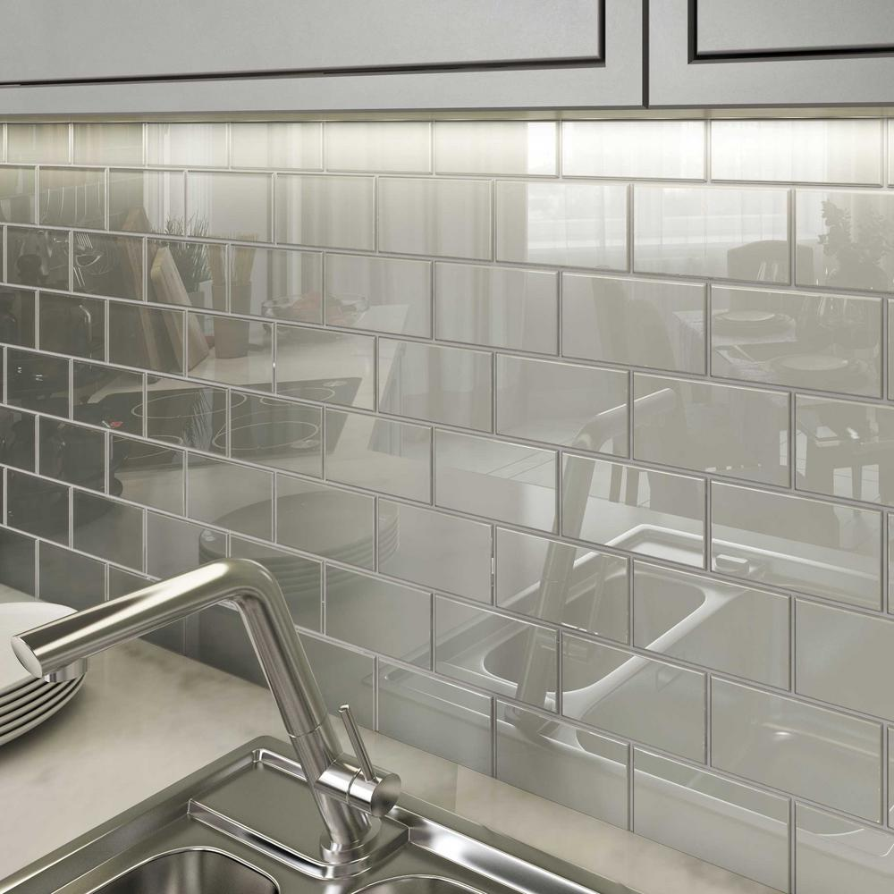 - Giorbello Light Gray 3 In. X 6 In. X 8 Mm Glass Subway Tile (5.5