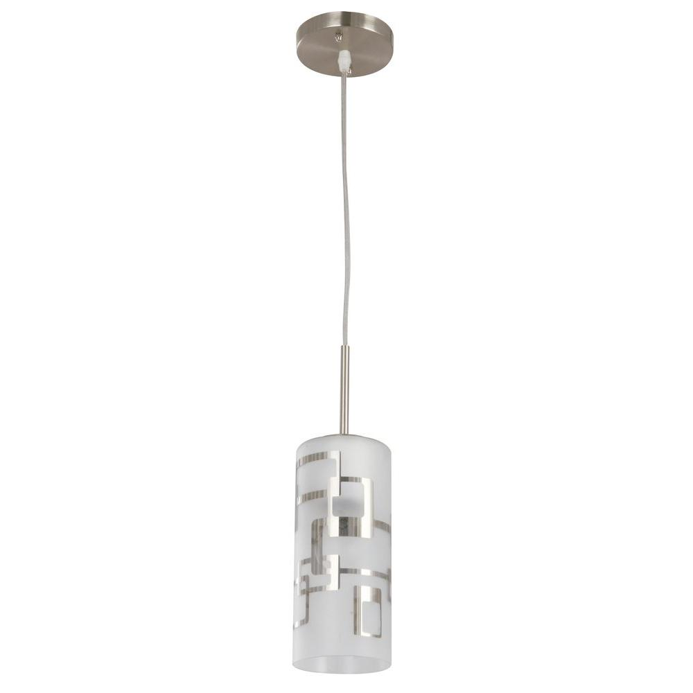 Mini hampton bay pendant lights lighting the home depot 1 light brushed nickel ceiling mini pendant with modern pattern etched white glass aloadofball Gallery