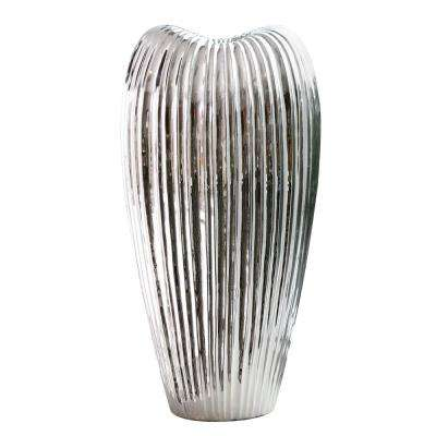 Ribbed Electroplated Ceramic Decorative Vase Tall