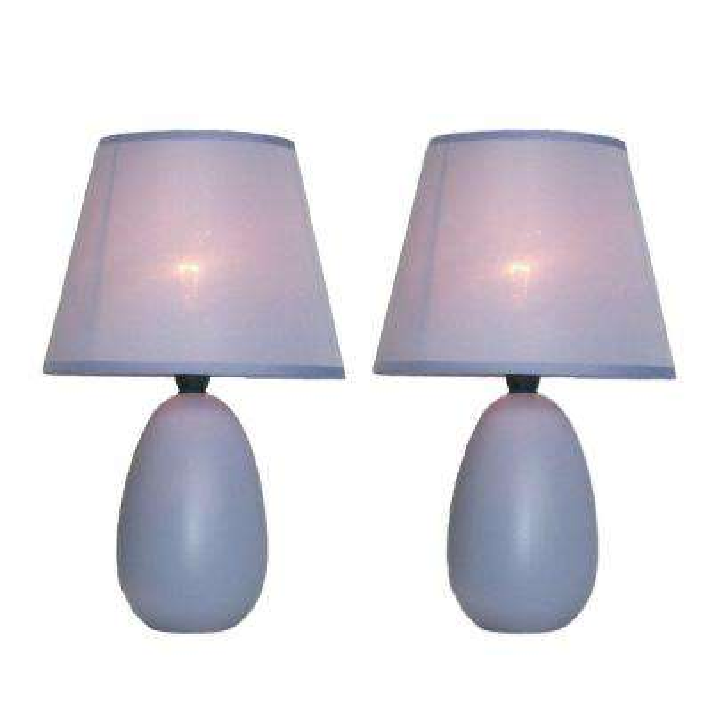 9 in. Mini Egg Oval Purple Ceramic Table Lamp (2-Pack)