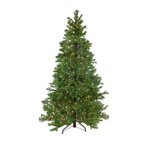6.5 ft. Pre-Lit Pine Artificial Christmas Tree with Clear Lights
