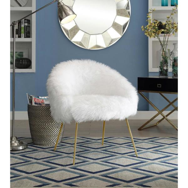 Inspired Home White Ana Luxe Fur with White Powder Coated Metal Leg Accent Chair