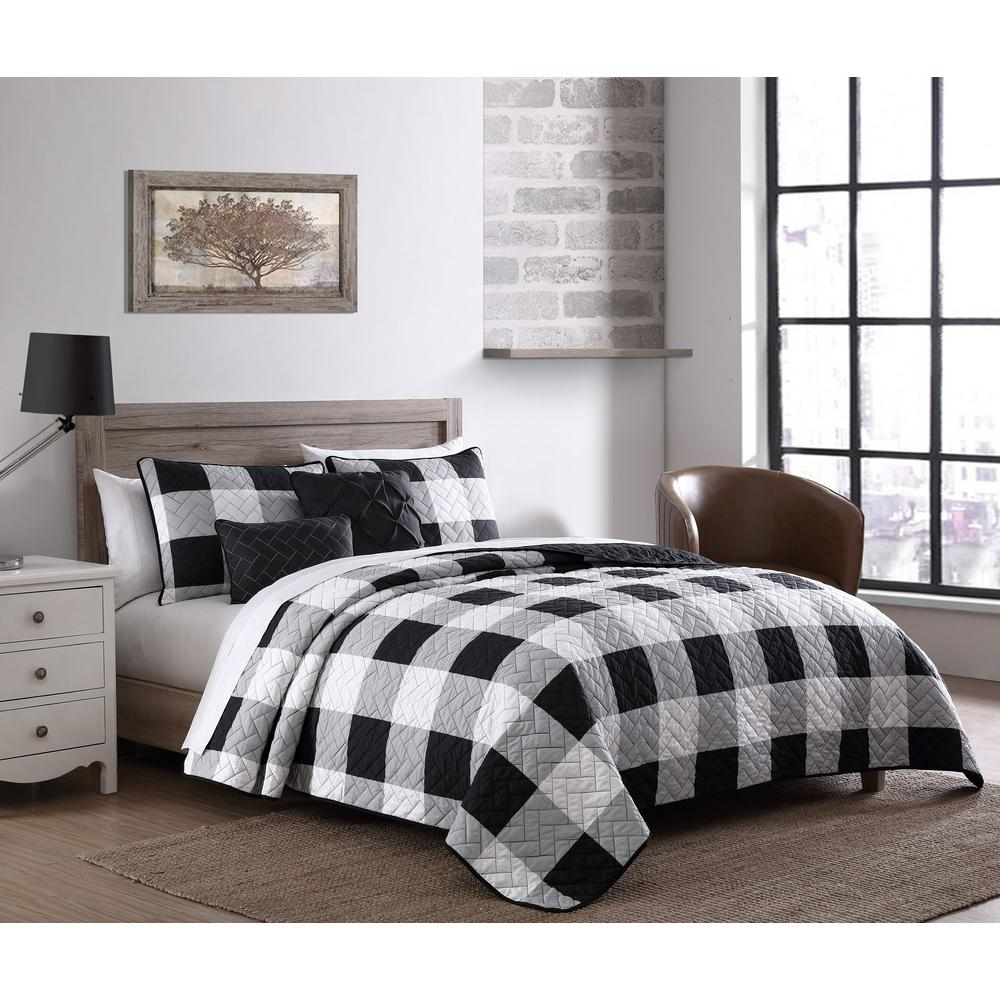 Unbranded Buffalo Plaid 7 Piece Black and White King Comforter Set