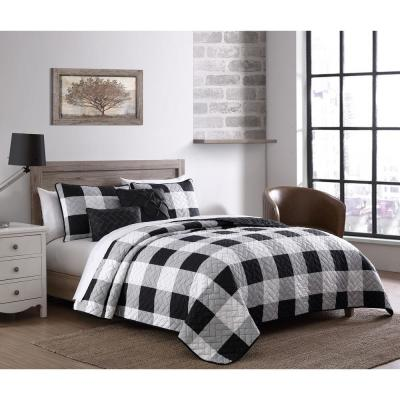 Buffalo Plaid 4-Piece Black/White Twin Quilt Set with Throw Pillows