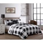 Buffalo Plaid 5-Piece Black/White Queen Quilt Set with Throw Pillows