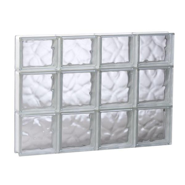 31 in. x 21.25 in. x 3.125 in. Frameless Wave Pattern Non-Vented Glass Block Window