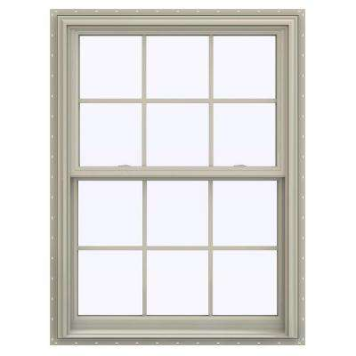 35.5 in. x 47.5 in. V-2500 Series Desert Sand Vinyl Double Hung Window with Colonial Grids/Grilles