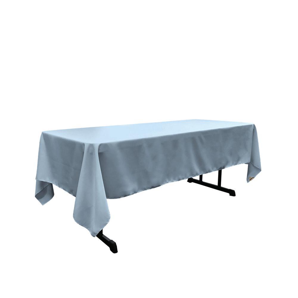 LA Linen Polyester Poplin 60 In. X 102 In. Light Blue Rectangular Tablecloth