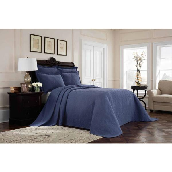 Williamsburg Richmond Blue Solid Full Coverlet