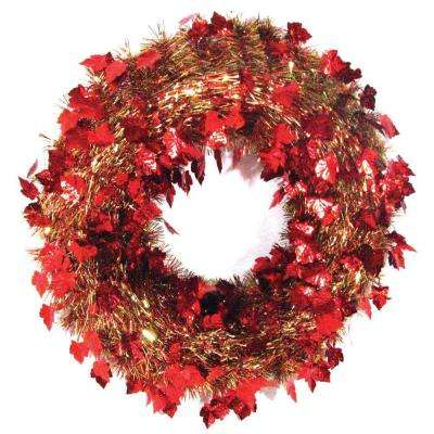 20 in. Autumn Ochre Die-Cut Tinsel Artificial Wreath