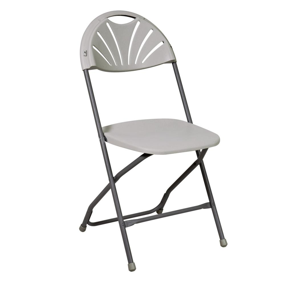 Fantastic Office Star Products Light Gray Resin Seat Stackable Outdoor Safe Folding Chair Set Of 4 Ncnpc Chair Design For Home Ncnpcorg