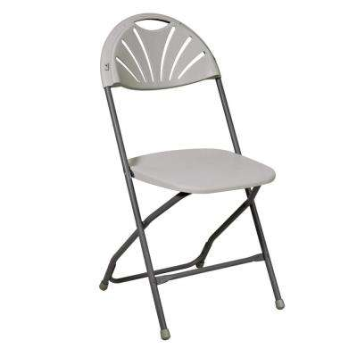 Light Gray Resin Seat Stackable Outdoor Safe Folding Chair (Set of 4)