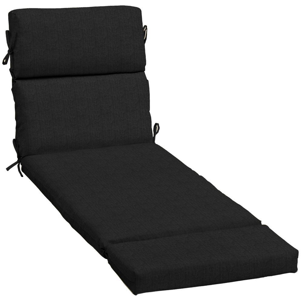 23 x 73 Sunbrella Canvas Black Outdoor Chaise Lounge Cushion