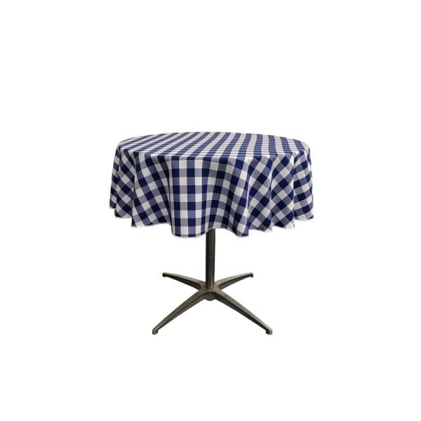 51 in. White and Navy Polyester Gingham Checkered Round Tablecloth