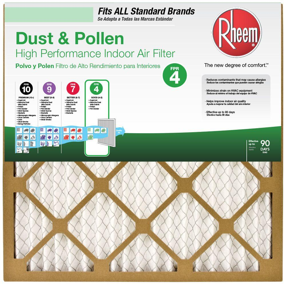rheem 20 in x 24 in x 1 in basic household pleated fpr 4 air20 in x 24 in x 1 in basic household pleated fpr 4 air filter